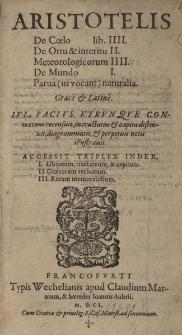 De Anima libri tres, Graece et Latine, Iulio Pacio a Beriga interpretate