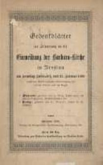 Gedenkblätter zur Erinnerung an die Einweihung der Barbara Kirche in Breslau am Sonntag Invocavit, dem 27.Februar 1898 (nach der 1897/8 erfolgten Instandsetzung der inneren Räume und der Orgel)