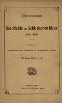 Untersuchungen zur Geschichte der Schlesischen Maler : (1500-1800)