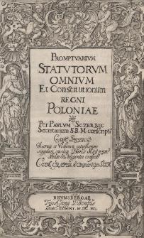 Promptuarium statutorum omnium et constitutionum Regni Poloniae