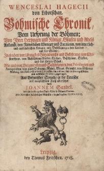 Böhmischer Chronik vom Ursprung der Böhmen von ihrer Herzogen und Könige, Grafen und Adels, Ankunfft von Ritterlichen...
