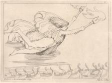 Eris z płonącymi pochodniami wysłana przez Zeusa do statków greckich