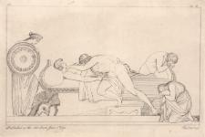 Tetyda przynosi Achillesowi nową tarczę wykuta przez Hefajstosa