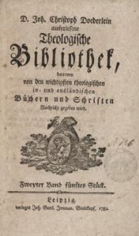 D. Joh. Christoph Doederlein auserlesene Theologische Bibliothek... Zweyter Band, fünftes Stück