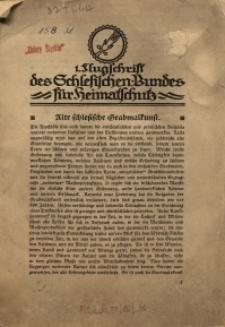 Flugschrift des Schlesischen Bundes für Heimatschutz. Alte schlesische Grabmalkunst