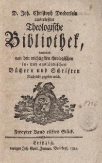 D. Joh. Christoph Doederlein auserlesene Theologische Bibliothek... Zweyter Band, eilstes Stück
