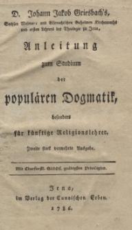 Anleitung zum Studium der populären Dogmatik besonders für künftige Religionslehrer