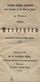 Predigten am zweiten, vierten und sechsten Julius 1786