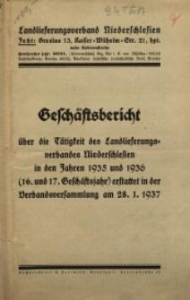 Geschäftsbericht über die Tätigkeit des Landlieferungsverbandes Niederschlesien in den Jahren 1935 und 1936...