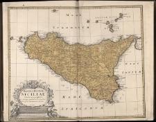 Regni et Insulae Siliciae Tabula geographica, ex Archetypo grandiori in hoc compendium radacta studio Homannianorum Heredum.