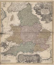 Magne Britanniae Pars Heridionalis in qua Regnum Angliae Tam In Septem Antiqua Anglo-Sax0num Regna quam in omnes Hodiernas Regiones accurate divisum hic ostenditur quam tabula ab Archetypo Vischeriano desumptam exhibet Ioh.Bapt.Homannus.