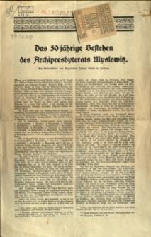 Das 50 jährige Bestehen des Archipresbyterats Myslowitz