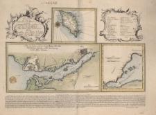 Carte von Insel Minorca nebst einem Plan des Hafens und der Stadt Mahon mit denen dazu gehörigen Forts welche den Hafen bedecken beydes von der Carte des Herrn von Bellin copiert