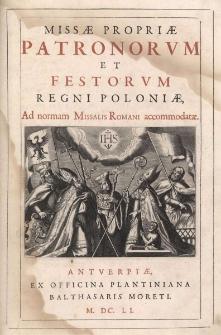 Missae propriae patronorum et festorum Regni Poloniae, ad normam Missalis Romani accommodatae