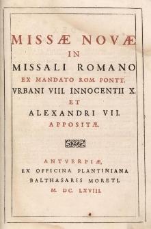Missae novae in Missali Romano ex mandato Rom. Pontt. Urbani VIII. Innocentii X et Alexandri VII appositae