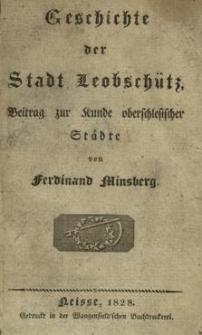 Geschichte der Stadt Leobschütz : Beitrag zur Kunde oberschlesischer Städte