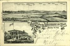 """Wilcza Góra : panorama Sudetów Zachodnich oraz schronisko """"Wolfsbaude"""""""