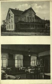 Złotoryja : budynek dworca kolejowego oraz wnętrze gospody przy dworcu