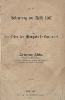Aus der Belagerung von Neisse 1807 und dem Leben des Marquis de Bombelles