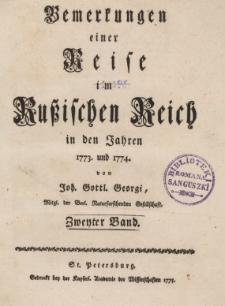 Bemerkungen einer Reise im Russischen Reich im den Jahren 1773. und 1774., T.II