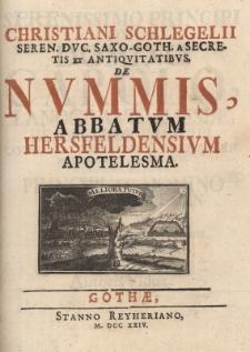 De Nummis Abbatum Hersfeldensium apotelesma