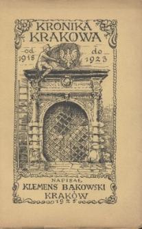 Kronika Krakowa z lat 1918-1923
