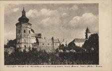 Żółkiew : widok z ul. Piłsudskiego na fortyfikacje miasta, basztę obronną, bramę glińską i ratusz