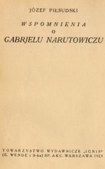 Wspomnienia o Gabrjelu Narutowiczu