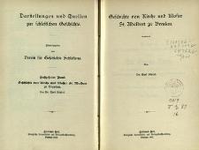 Darstellungen und Quellen zur schlesischen Geschichte. Bd. 16. Geschichte von Kirche und Kloster St. Adalbert zu Breslau