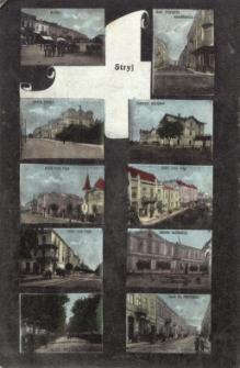Stryj : rynek, gmach Sokoła, ul. 3-go Maja, Aleja Kolejowa, ul. Z. Krasińskiego, dworzec kolejowy, pomnik Kilińskiego, ul. Hr. Potockiego