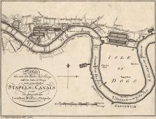 Plan des von der West. Ind. Comp. auf der Isle of Dogs neu angelegten STAPELS u. CANALS so wie des projectirten Londner Wasser - Stapels
