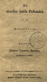 De studio juris Polonici: dissertatio