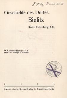 Geschichte des Dorfes Bielitz : Kreis Falkenberg OS