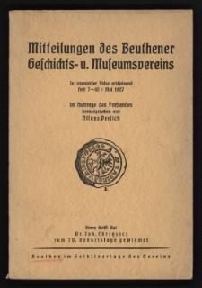 Mitteilungen des Beuthener Geschichts = und Museumsvereins. H. Nr.7-10. 1925-1927