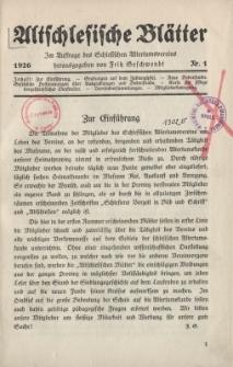 Altschlesische Blätter 1926 : Jg.1, Nr 1