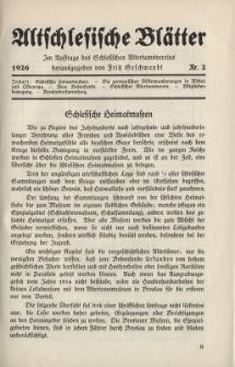 Altschlesische Blätter 1926 : Jg.1, Nr 2