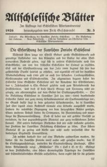 Altschlesische Blätter 1926 : Jg.1, Nr 3