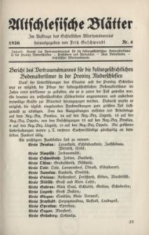 Altschlesische Blätter 1926 : Jg.1, Nr 4
