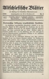 Altschlesische Blätter 1926 : Jg.1, Nr 5