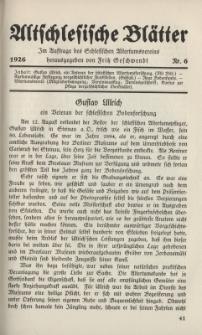 Altschlesische Blätter 1926 : Jg.1, Nr 6