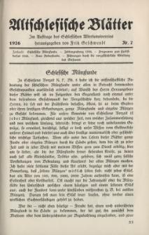 Altschlesische Blätter 1926 : Jg.1, Nr 7