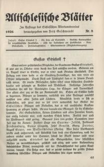 Altschlesische Blätter 1926 : Jg.1, Nr 8