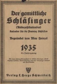 Der gemittliche Schläsinger (Rübezahlkalender) : Kalender für die Provinz Schlesien. Jg.53