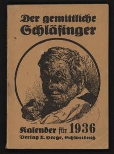 Der gemittliche Schläsinger (Rübezahlkalender) : Kalender für die Provinz Schlesien. Jg.54