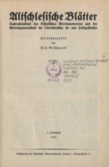 Altschlesische Blätter 1928 : Jg.3, Inhalt