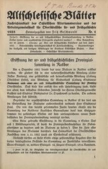 Altschlesische Blätter 1928 : Jg.3, Nr 1