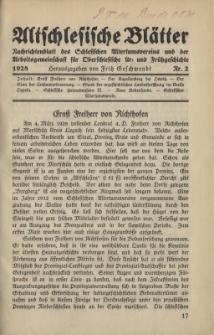 Altschlesische Blätter 1928 : Jg.3, Nr 2