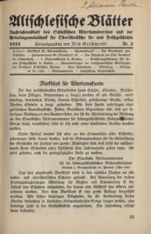 Altschlesische Blätter 1928 : Jg.3, Nr 3