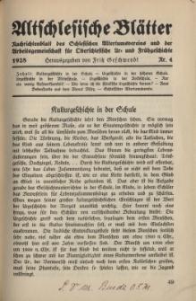 Altschlesische Blätter 1928 : Jg.3, Nr 4