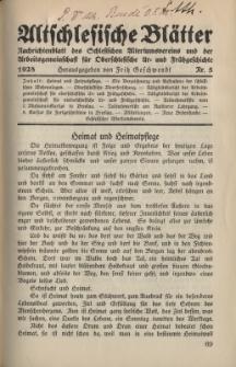 Altschlesische Blätter 1928 : Jg.3, Nr 5